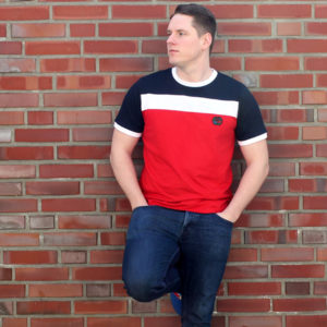 T-Shirt Basic Navy-Weiß-Rot