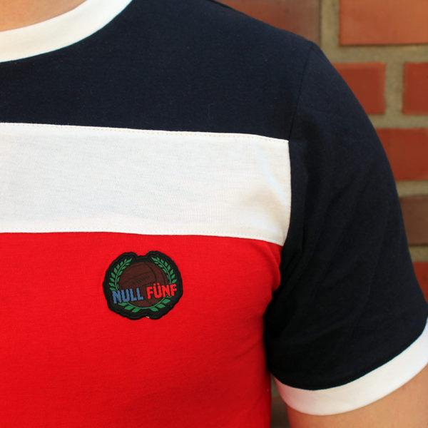 T-Shirt Basic Navy-Weiß-Rot